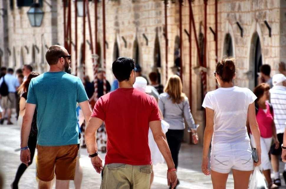 Young kids backpackers Dubrovnik Croatia