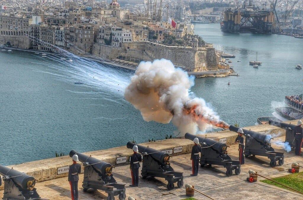 Valletta Malta cannons