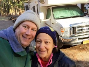 "In Yosemite National Park on Christmas Day, 2014, with our rented Class C motorhome, ""Sunny"""