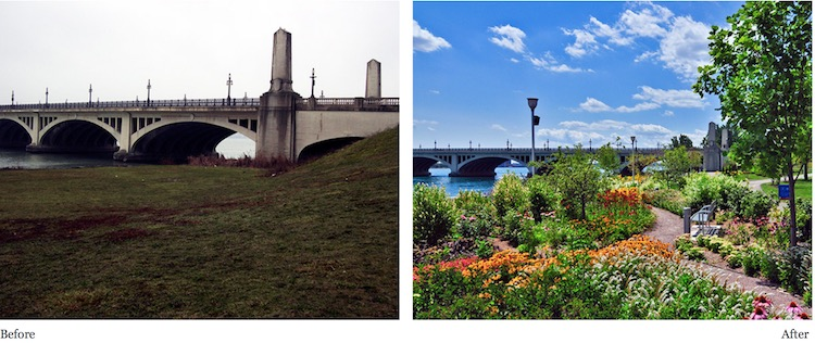Detroit riverfront before & after