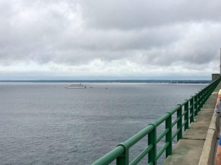 Cruise ship passing under Bridge