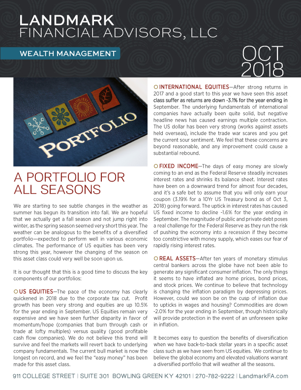Landmark Financial Advisors OCT 2018 newsletter