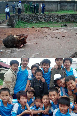 1. Blast from the explosion blew a large tree stump across the school yard and shattered classroom window. 2. Bright, innocent schoolboys in a physical education class. This narrow escape is another reminder of just how many unknown close calls occur every day.