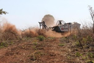 The MineWolf, named for former country director, Vanessa Finson, kicking up dust