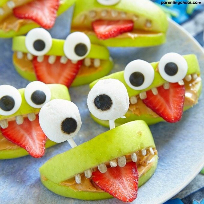 Halloween monster apple treat made the list of my favorite Halloween Party Food Ideas