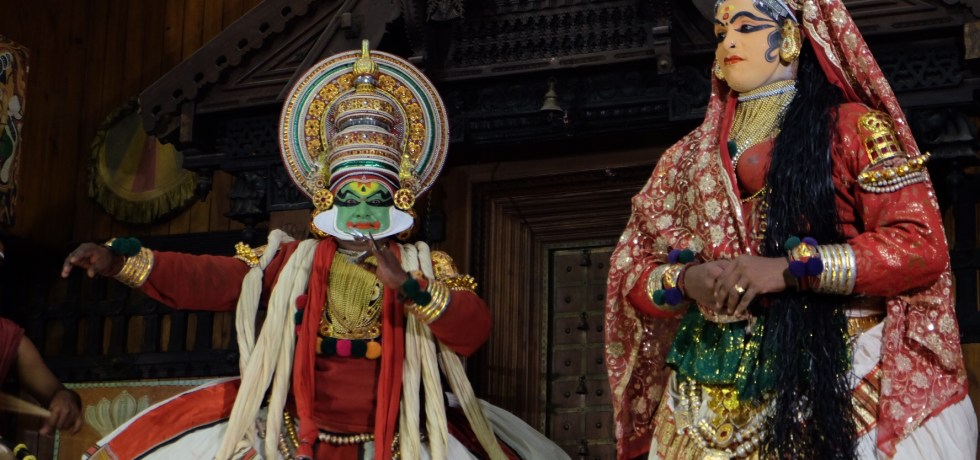 Bhima and Panchali at the Kathakali Centre in Fort Kochi