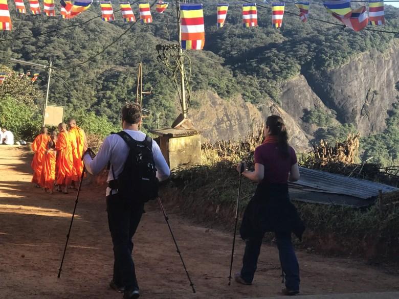 Tourists and monks trekking Adam's Peak, Sri Lanka