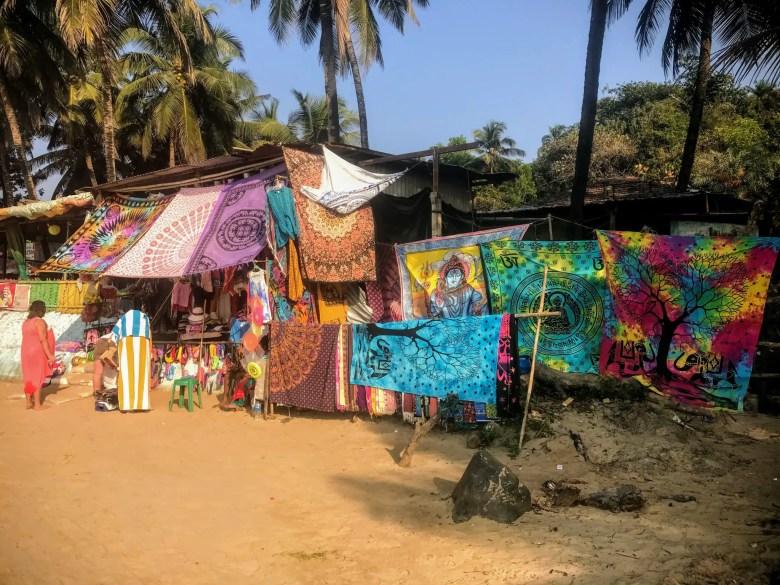 Sarongs for sale on Kudle Beach, Gokarna