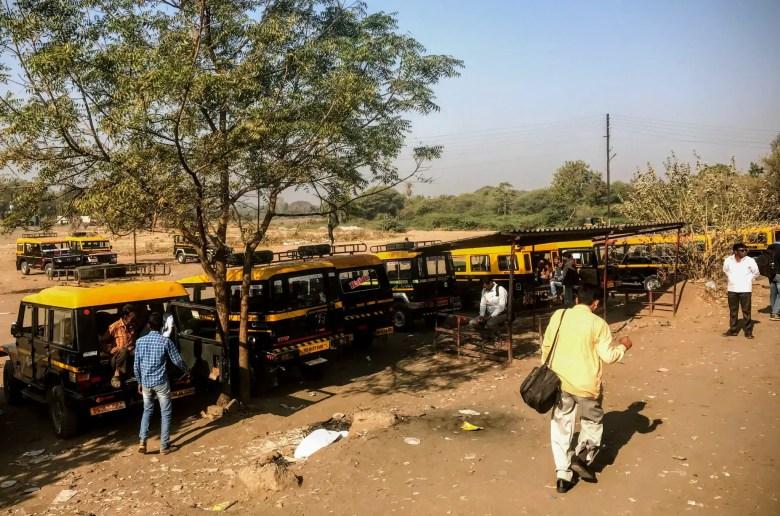 Jeep park for the Ellora Caves, Aurangabad, Maharastra, South India