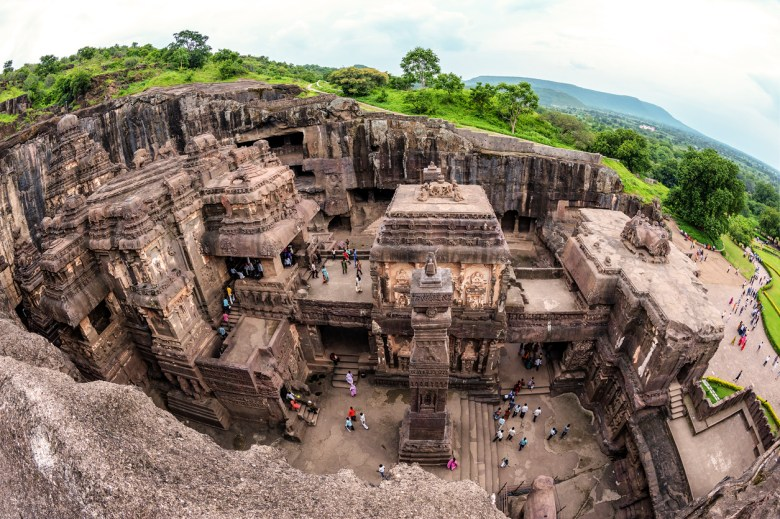 Aerial view of Kailasa Temple at the Ellora Caves, India