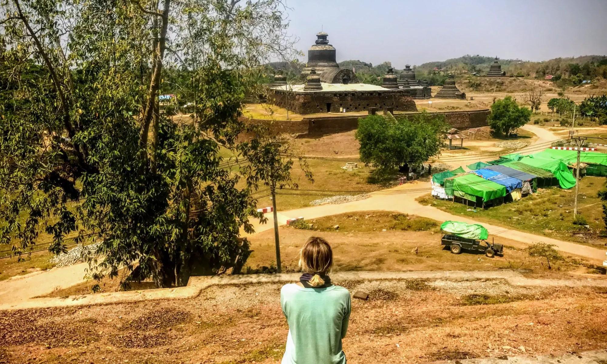 Looking at Htukkanthein Temple in Mrauk U, Myanmar