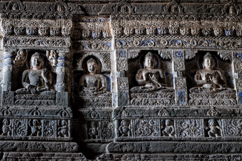 Carved Buddhas, Ajanta Caves, Maharashtra, South India