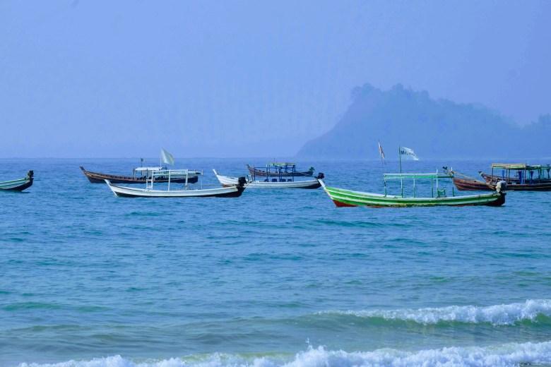 Fishing boats at Gyeiktaw fishing village, Myanmar