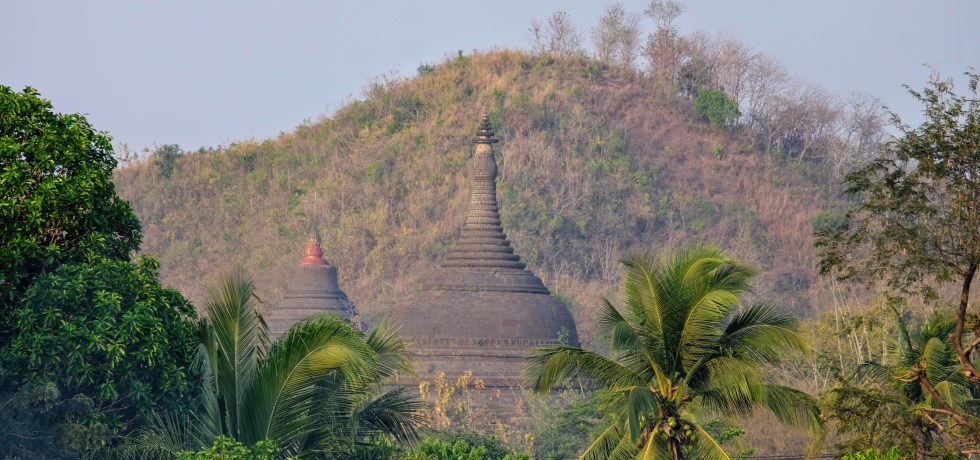 Pagodas south of Mrauk U, Myanmar