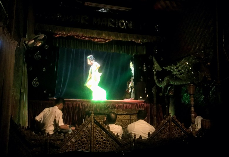 Performer on stage, Mandalay Marionettes, Mandalay, Myanmar