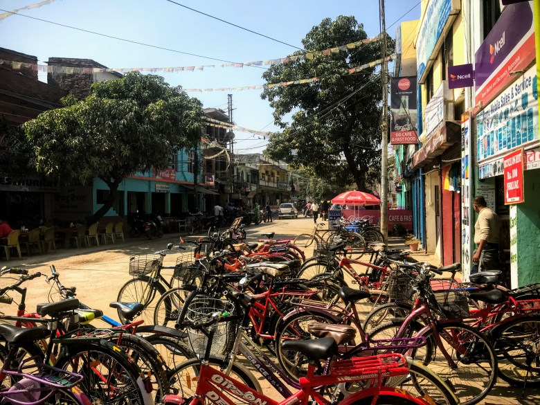 Bikes on Lumbini high street, Nepal