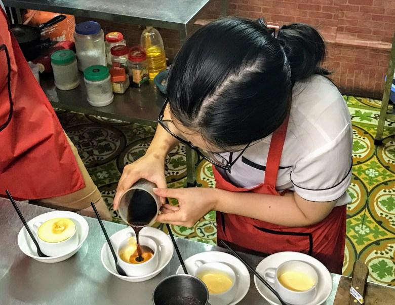 Making egg coffee in Hanoi, Vietnam