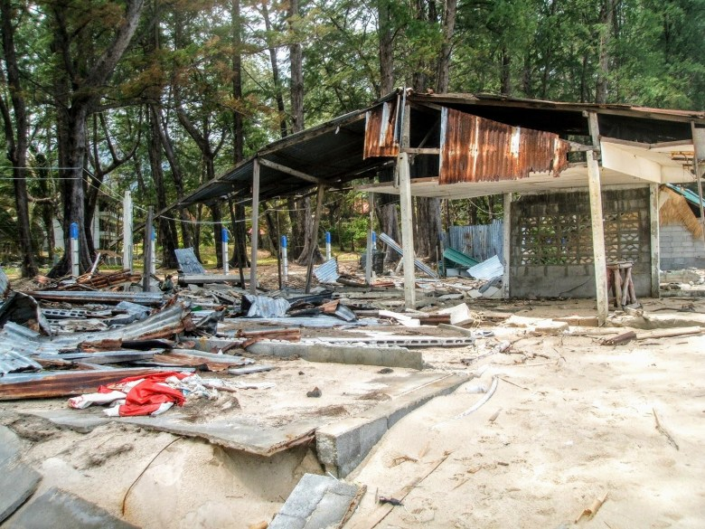 Damage at Bang Tao beach from Tsunami aftershocks, Phuket, Thailand