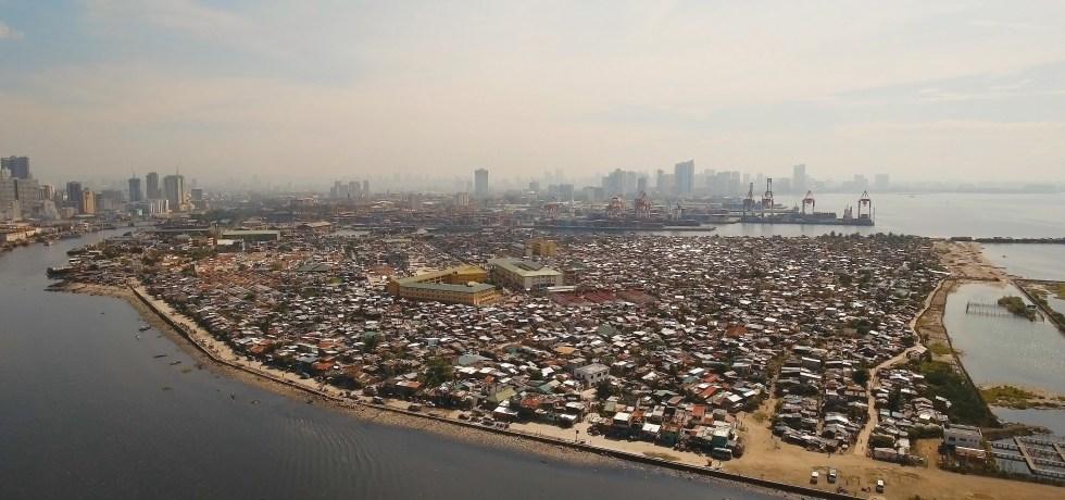 Aerial view slums of Manila, Philippines, Manila