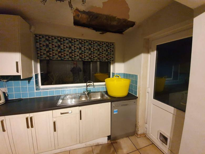 Water damaged kitchen, Manchester, UK