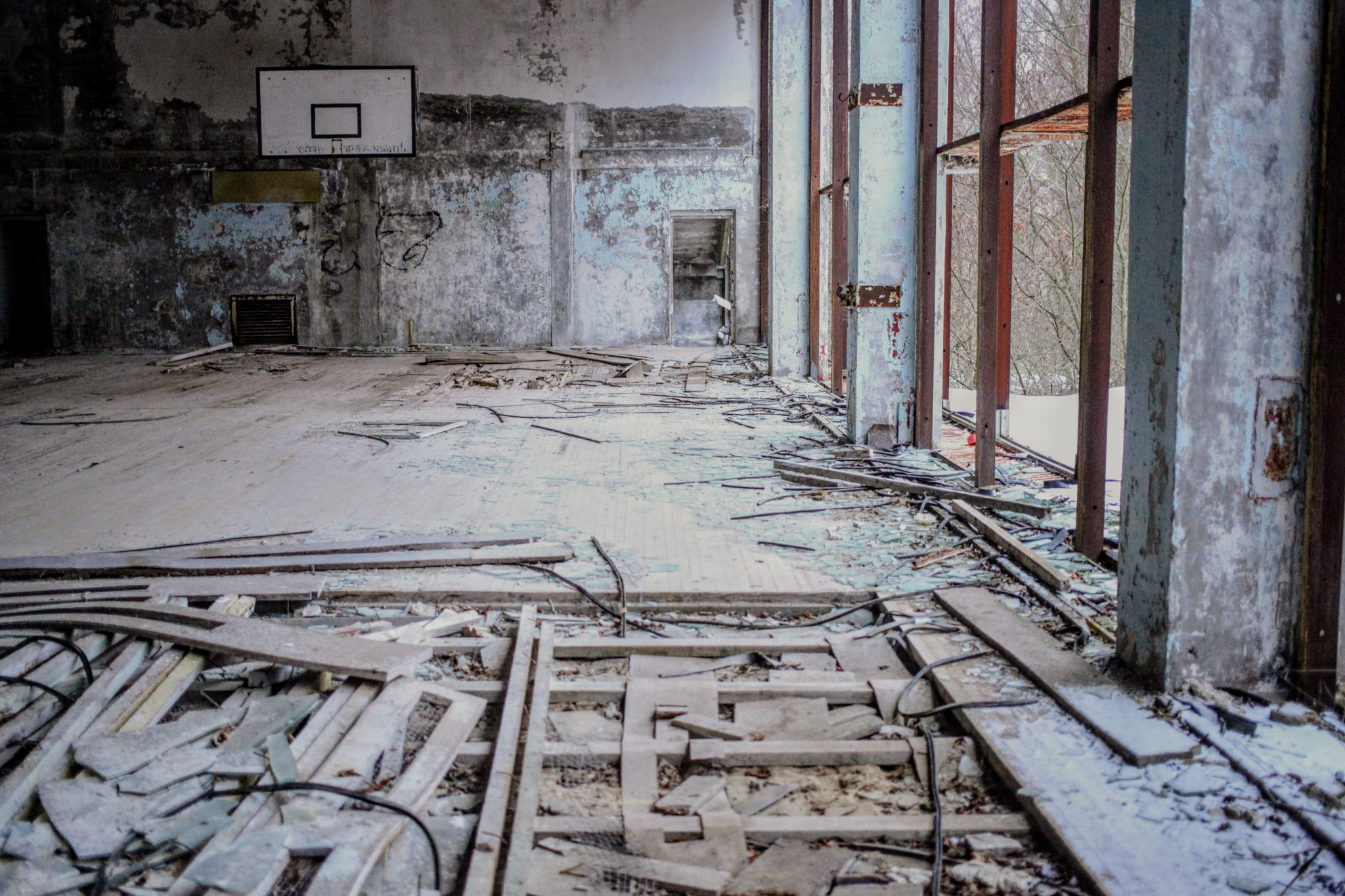 Pripyat's abandoned basketball court