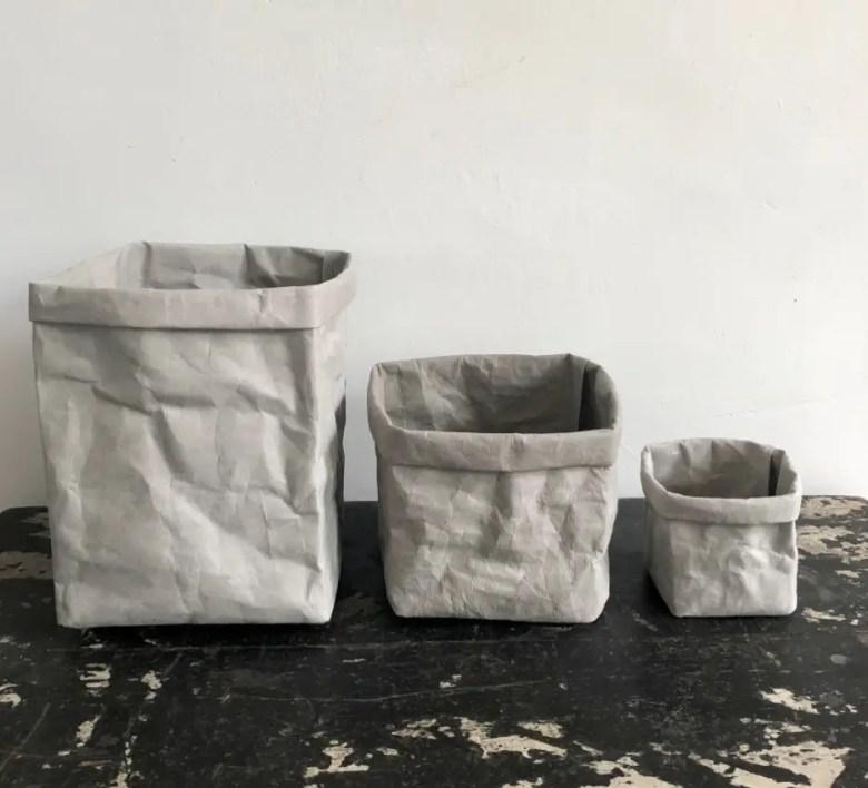 Washable paper storage boxes, Etsy