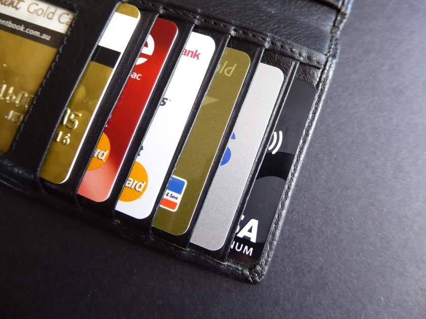 A picture of an RFID wallet holding a bunch of credit cards