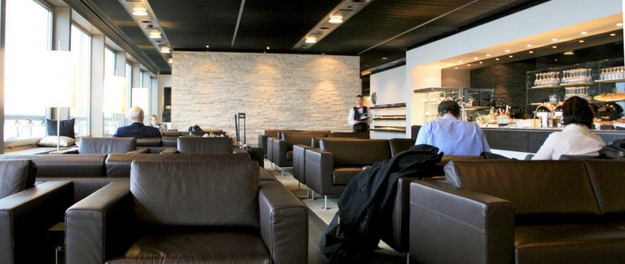 A view of the SWISS first class lounge in Zurich. One of the top airport lounges in the world.