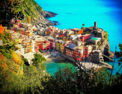 A view of the harbor from Vernazza Italy
