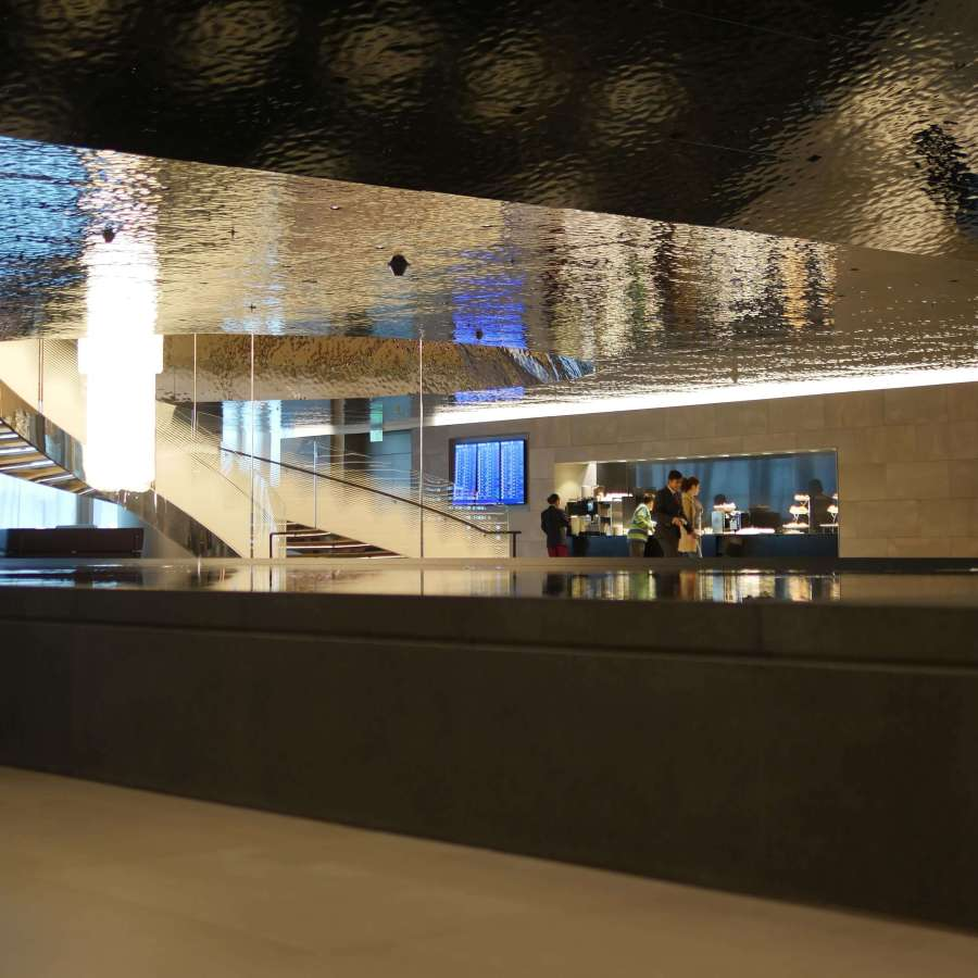 An image of the ceiling of the almourjan qatar airways lounge at Hamad International Airport