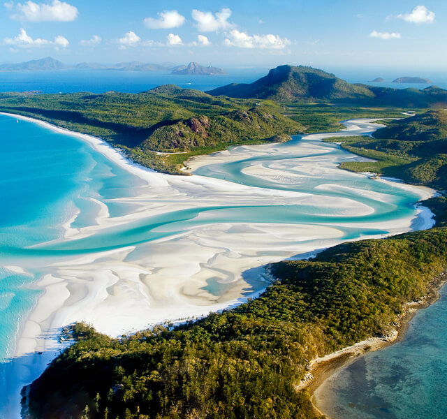 An aerial view of the Whitehaven Beach in Queensland. Widely regarded on most people's best beaches in Australia list.