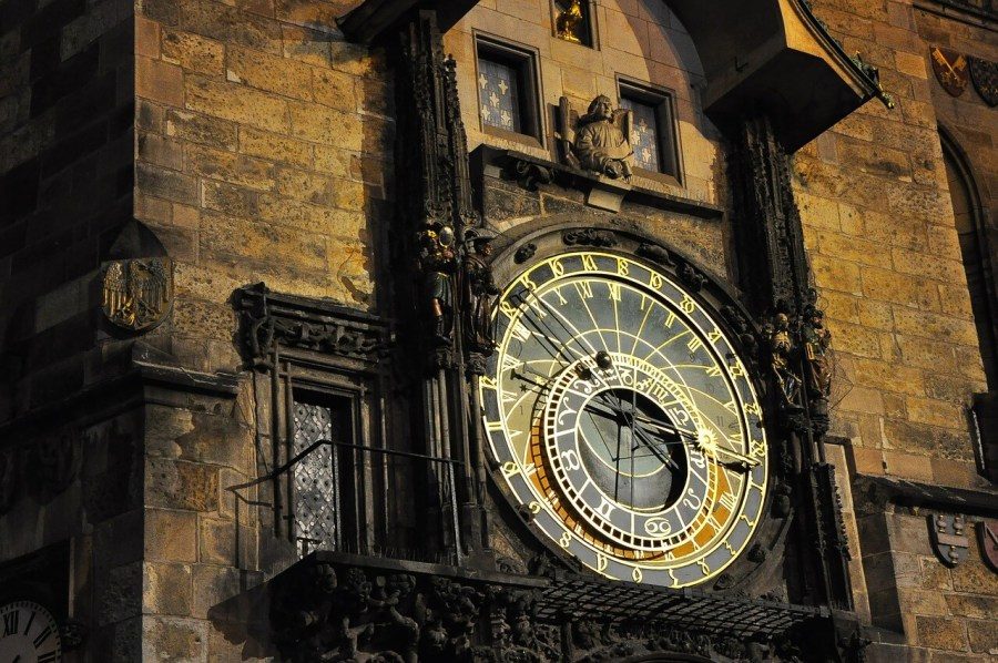 A view of the Astronomical clock in Prague installed in the 14th century. A must see for travelers.