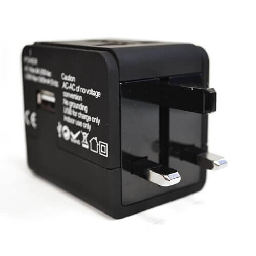 A view of the ceptics all in one travel power adapter. Works in almost every country in the world.