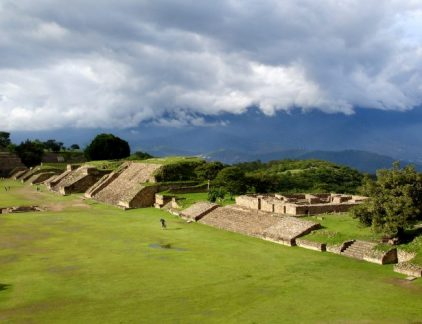 A breathtaking view of Monte Alban which is a pre Columbian archeological site