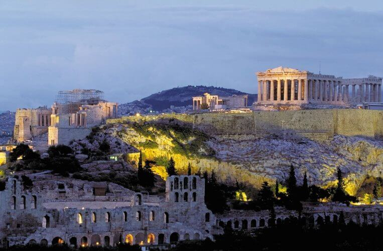 A view of acropolis in Athens from the filopappos hill