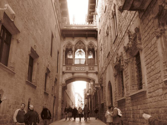 A shot of the Barri Gotic cathedral in barca