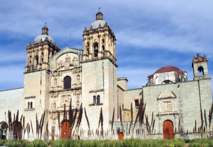 An external view of the Santo Domingo Cathedral in Mexico