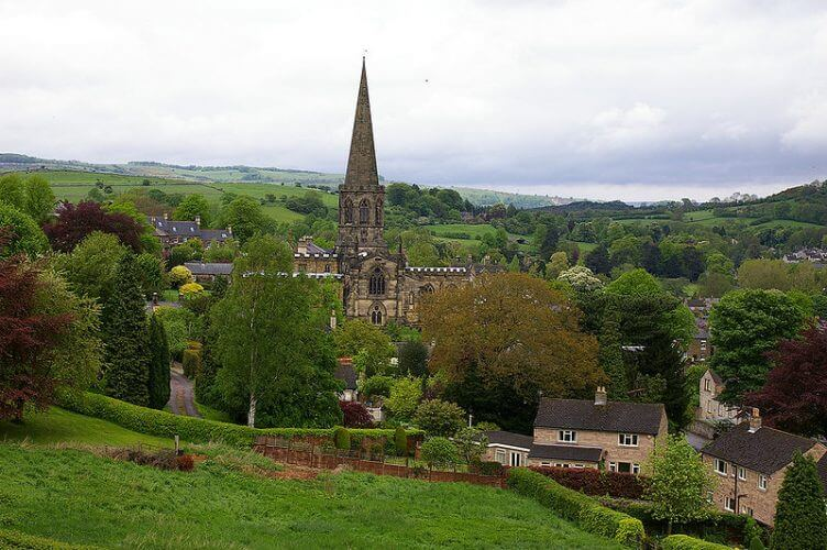 The all saints parish church in the quiet village of Bakewell derbyshire