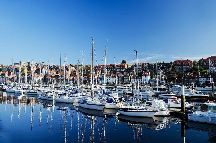 An enchanting image of the boats & yachts situated on the Whitby coast