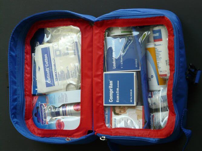 An image of a basic first aid kit