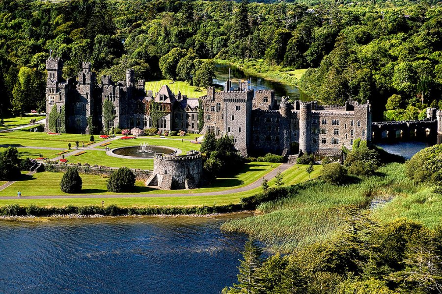 An aerial view of the infamous Ashford Castle