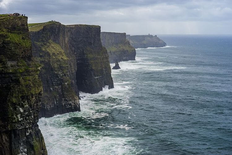 A side view of the cliffs of moher in ireland