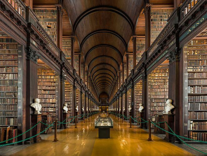 The famous long room of the trinity college in Dublin is shown here