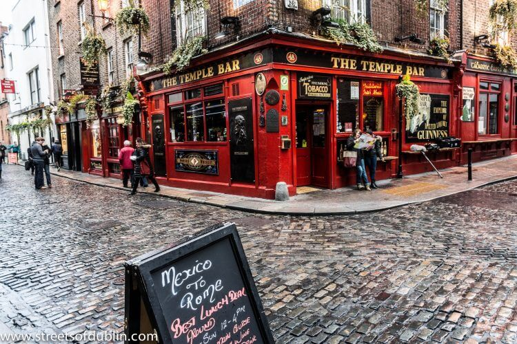 The temple bar pub in the temple bar area of dublin is displayed here