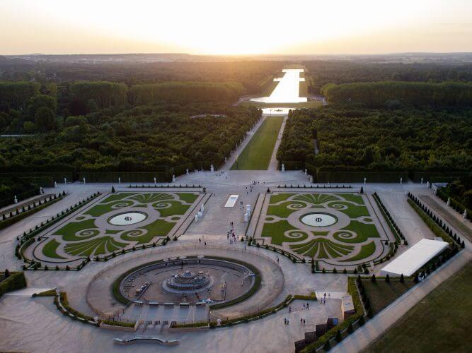 An Aerial view of the grounds of Versailles captured by a drone