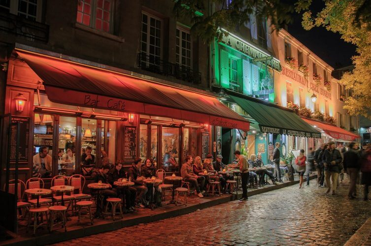 The night life on display at Montmartre is pictured here