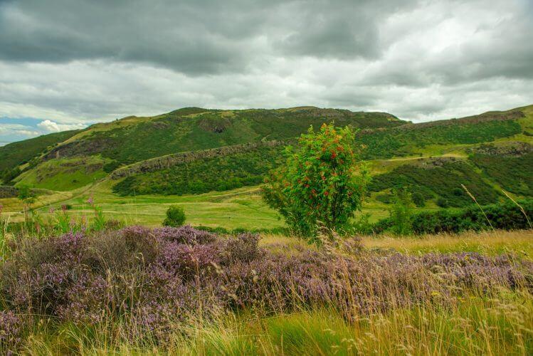 A shot of the Holyrood Park in Edinburgh Scotland