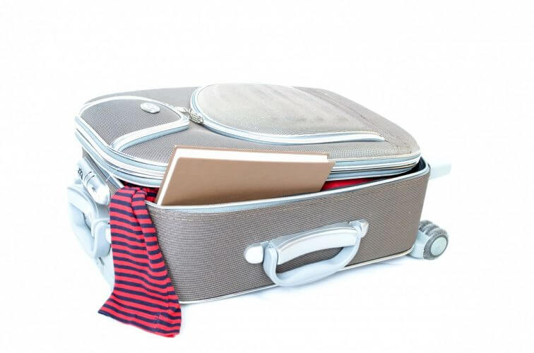 A simple suitcase with many pouches for quick access is seen in this image