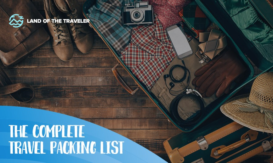 An image of packing list items for travel