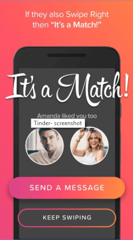 A screenshot of the tinder app which one can use on his or her travels is seen here